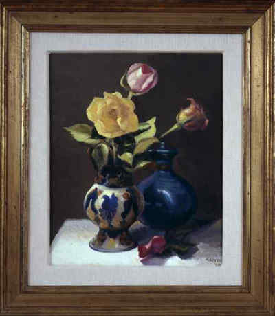 Roses with oriental vase